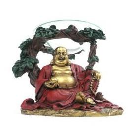 Lampe à Huile Bouddha Or et Rouge